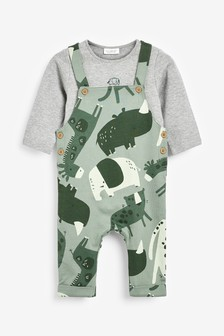 Jersey Character Dungarees And Bodysuit Set (0mths-2yrs)