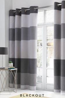 Mono Stripe Blackout Eyelet Curtains