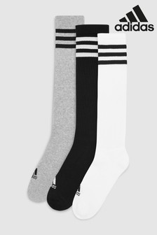 adidas Grey/White/Black Knee High Socks Three Pack