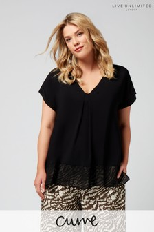 Live Unlimited Black Morocain Blouse With Chiffon Hem