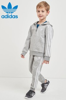 adidas Originals Little Kids灰色連帽運動套裝