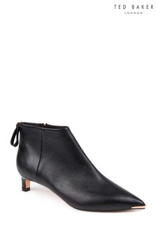 Ted Baker Black Amaedi Leather Kitten Heel Ankle Boot