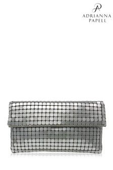 Adrianna Papell Silver Oona Mirrored Sequined Clutch