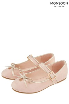 Monsoon Pale Pink Esme Bow Ballerina
