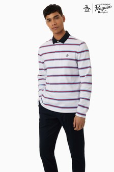 Original Penguin White Long Sleeve Auto Stripe Rugby Polo