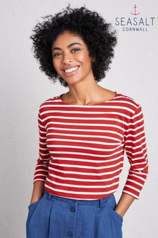 Seasalt Sailor Top Breton Fireglow Ecru