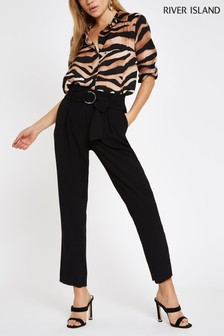 River Island Black Ring Detail Tapered Trouser