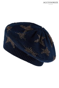Accessorize Blue Sparkle Star Jacquard Beret