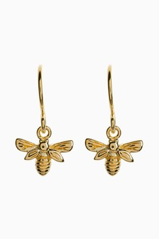 18 Carat Gold Plated Bee Drop Earrings