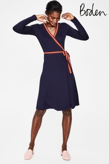Boden Blue Cara Jersey Wrap Dress