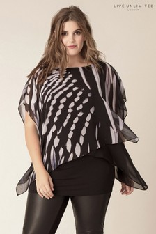 Live Unlimited Black Oversized Feather Print Overlay Top