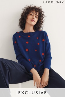 Next/Mix Embroidered Spot Merino Knit