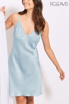 Figleaves Blue Greta Lace And Silk Chemise