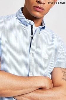 River Island Blue Short Sleeve Stripe Shirt