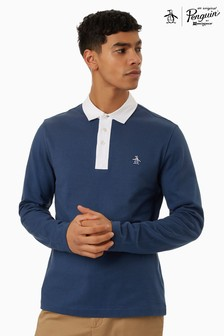 Original Penguin Blue Long Sleeve Solid Rugby Polo