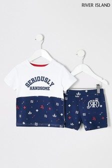 River Island Navy Mini Monogram Seriously Handsome Pyjamas