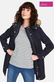 Joules Navy Aspen Fur Trimmed Parka Jacket