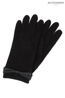 Accessorize Black Wool Glove With Bow