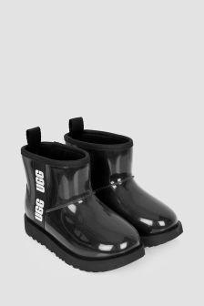 Girls Black Classic Clear Mini Boots