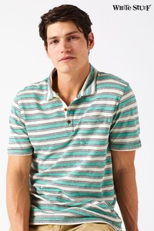 White Stuff Green Valpy Jacquard Stripe Polo