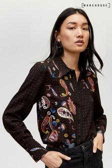 Warehouse Black Cutabout Paisley Pattern Shirt