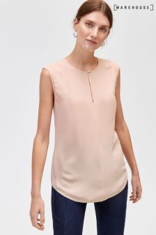 Warehouse Pink Sleeveless Keyhole Blouse