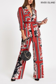 River Island Red Straight Wide Leg Trouser
