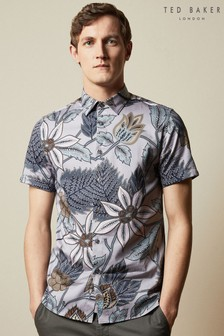 Ted Baker - Canwe - T-shirt beige con stampa vivace di uccelli