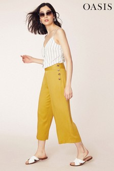 Oasis Yellow Button Side Trouser