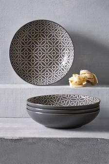 Set of 4 Geo Embossed Pasta Bowls