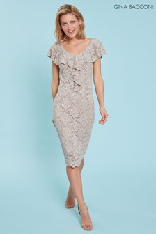 Gina Bacconi Nude Starla Lace Dress With Frill