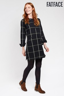 FatFace Black Rachel Check Dress