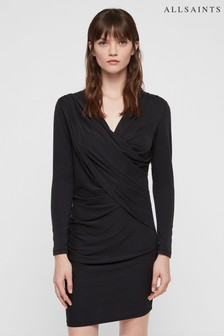 All Saints Black Jersey Wrap Drape Sofia Dress