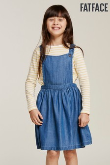 FatFace Blue Kara Pinafore Dress