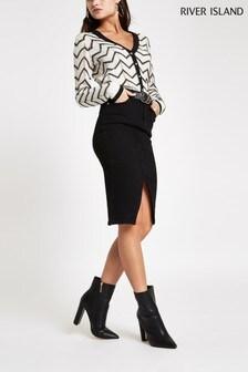 River Island Black Denim Midi Skirt