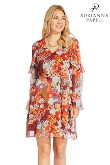 Adrianna Papell Floral Chiffon Fit And Flare Dress