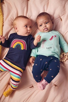 2 Pack Stripe And Rainbow Leggings (0mths-2yrs)