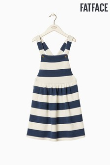 FatFace Blue Stripe Sweat Pinafore Dress