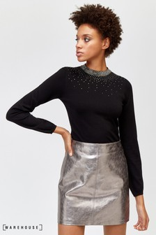 Warehouse Black Scatter Embellished Jumper