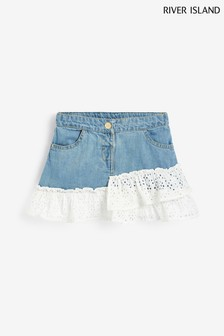 River Island Beige Broderie Frill Skirt