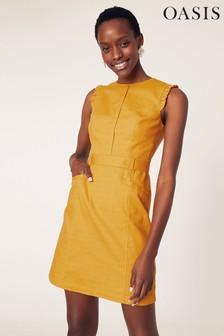 Желтое цельнокройное платье с оборками Oasis