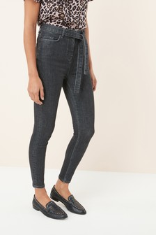 Belted High Waist Skinny Jeans