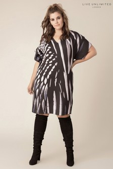 Live Unlimited Black Oversized Feather Kimono Dress