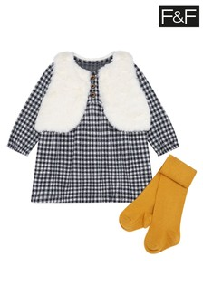 F&F Grey Checked Dress With Gilet