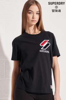 Superdry Black Organic Cotton Sportstyle Chenille T-Shirt
