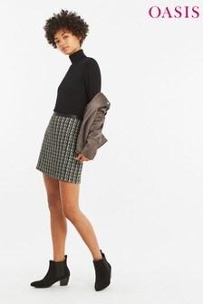 Oasis Black Leather Look Tweed Skirt