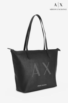 תיק יד עם ניטים של Armani Exchange בשחור