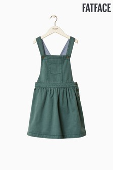 FatFace Green Twill Pinafore Dress