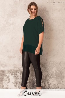 Live Unlimited Black PU And Ponte Mix Legging
