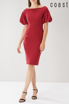 Coast Red Shailene Puff Sleeve Dress